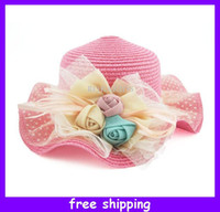 Wholesale Romantic Gilrs Rose Straw Top Hat Brim Floppy Summer Beach Sun Straw Hat Cap