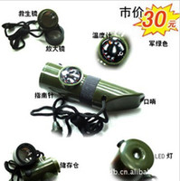 Wholesale 7 in survival rescue whistle with Compass magnifying glass storage box thermometer LED Light lifesaving mirror