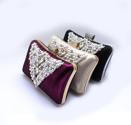 Cold Ladies Beading Rhinestone Handbag Clutch Evening Purse Makeup Bag 5 Color for your choice 7239d