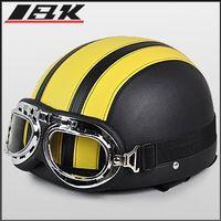 Half Face half face helmet - Half Face helmet summer helmet Motorcycle helmet with ABS and black Yellow color Motorbike helmet Electric bicycle helmet free size