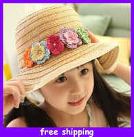 Wholesale 2013 Fashion Girls Flower Straw Hats Spring Summer Kids Beach Sun Straw Hat Baby Cap