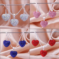 Wholesale New arrival Shamballa Jewelry set MM Shining Heart Crystal Beads Silver Necklace amp Earrings