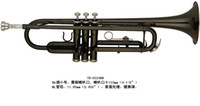 Wholesale Brass Wind Music Instrument Trumpet TR BK Bb key Black Painted