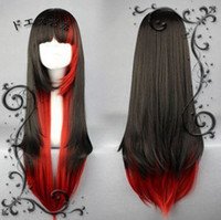 Wholesale New lolita Long Black Mix Red Straight Cosplay Party Cosplay Wigs Full hair womens cosplay wig