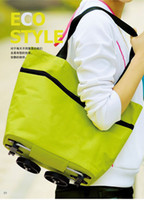 Fabric Sundries  Free shipping fashion tugboat pack, shopping bag, travel bag with trolley foldable round dot tug bag