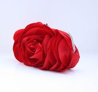 Wholesale Red Elegant Floewr Satin Clutch Banquet Bag Purse Bridal Handbag Bride Wedding