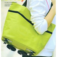 Fabric Sundries  Free shipping shopping bag fashion tugboat pack travel bag with trolley foldable round dot tug bag