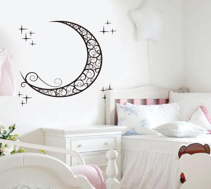 Stickers For Nursery Walls Part   24: Removable Moon Wall Stickers Kids  Room Wall Stickers