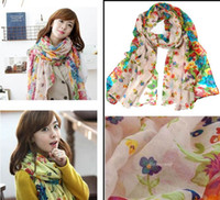 Wholesale 10 Fashion Women Ladies Floral Flower Printed Scarf Shawl Stole Wrap fx195