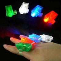 Unisex big blisters - 100pcs x Color LED laser finger beams party Light up finger ring laser lights with blister package