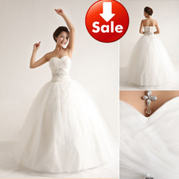 Wholesale Cheap White Sweetheart Lace Beading Floor length A line Bridal ball gowns Wedding dresses