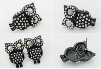 Wholesale Retro Fashion Cute Rhinestones fully jewelled Black Owl Stud Earring t5017