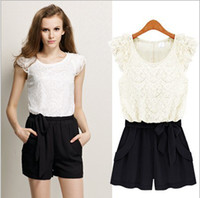 Mini Shorts Lace 2013 Women's Sexy O Neck Lace Flowers Top Jumpsuits and Union Suits