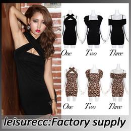 Wholesale New Sexy Temperament hree Worn Strap Nightclub Slim Package Hip Dress FZ0048