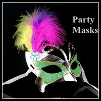 Wholesale New Beautiuuful Masquerade Masks Makeup Masks Feather Butterfly Party Masks colors Supplies new