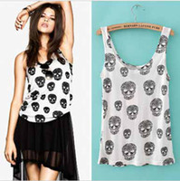 Polyester Women Sleeveless hot sale skull print leisure wild women backing Sling vest tank top #8093
