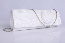 Wholesale High Quality Pleated Satin Floral White Bridal Hand Bags Wedding Party Handbags BH1