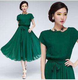 2016 Fashion Summer Women Dress Vestidos Evening Party Chiffon Dress Bohemian Green OL Work midi dress skirt Casual Dress Women Clothing
