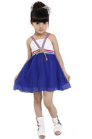 Wholesale Blee Sleeveless Bow Chiffon Suspenders Gymboree Dress Gallus Boutique Dress Girls Clothing EMS