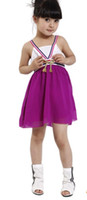 Wholesale Purple Sleeveless Bow Chiffon Suspenders Gymboree Dress Kids Gallus Dress Girls Clothing