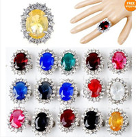 Wholesale Brand New Bulks Mixed Crystal Zircon Princess Queen Wedding Rings Jewelry CZ130