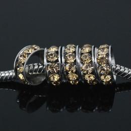 Wholesale Light Topaz Austrian Crystal Rondelle Spacer Big Hole European Beads Fit Charm Bracelet