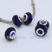 Wholesale Wholesales Pure Dark Blue Murano Glass Crystal Faceted Rondelle Spacer Big Hole Charms Beads Fit European Bracelet