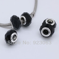 Wholesale Wholesales Pure Black Murano Glass Crystal Faceted Rondelle Spacer Big Hole Charms Beads Fit European Bracelet