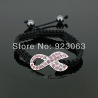 Other Unisex Anniversary Wholesale 5pcs Lot Fashion Pink Crystal Silver Ribbon Connector Bead Breast Cancer Awareness Adjustable Black Macrame Rope Cuff Bracelets