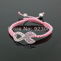 Connector weave Bracelet Unisex all Wholesale 5pcs Lot Fashion Pink Crystal Silver Ribbon Connector Bead Breast Cancer Awareness Adjustable Pink Macrame Rope Cuff Bracelets