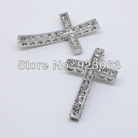 Wholesale 50pcs Fashion Clear Rhinestone White Gold Curved Sideways Cross Connectors Beads For Bracelet DIY Jewelry Findings x39mm