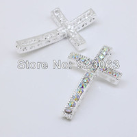 bracelet connectors - 50pcs Fashion White AB Rhinestone Silver Curved Sideways Cross Connectors Beads For Bracelet DIY Jewelry Findings x39mm