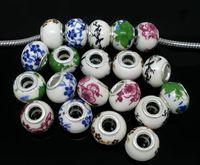 Wholesale 50pcs Mixed Pattern Ceramics Beads Fits Charm Bracelet
