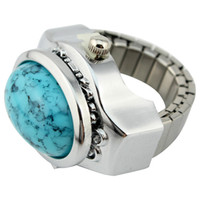 Wholesale Blue Luxury Precious Stone Gem Mini Finger Ring Watch