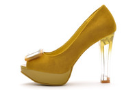 Wholesale Yellow Fashion Girls Party Shoes Modern Women High Heels Platform Shoes Pumps For Sale