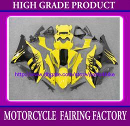 Custom race fairing kit for YAMAHA YZFR6 08 09 YZF R6 2008 2009 fairings flames yellow black RX7o