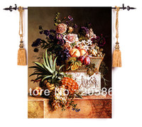 Wholesale hot sells famous picture a bunch of flowers wall tapestry of bouquet and fruits