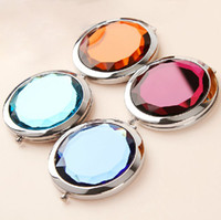Wholesale HOT Cosmetic Compact Mirror Crystal Magnifying Multi Color Make Up Mirror Wedding Favor Gift