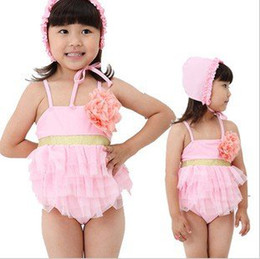 Wholesale New Arrival Baby girls swimsuit Big flower cake layer lace bathing suit