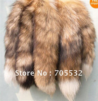Wholesale Natural yellow red fox Fox Fur Tail Keychain Tassel Bag Handbag Pendant Accessory Purse keyring
