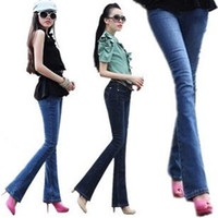 Wholesale EMS Fashion Women bell bottom Jeans Beautiful Hot Flared Jeans Mention Hip Women Trousers