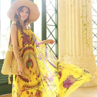 Wholesale New Contrast Color Seaside Beach Dress Yellow Bright Printing Mop The Floor Long Dress
