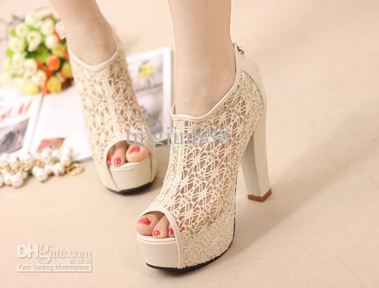 Sexy Lace Hollow out Womens Shoes Tassel Zip High Heels Peep Toe ...