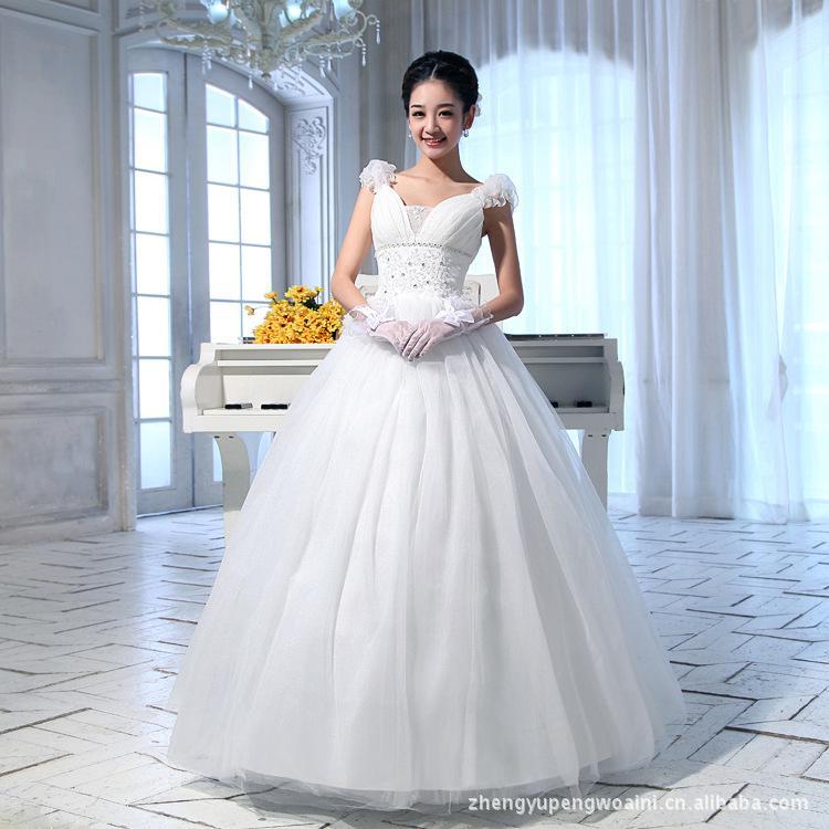 New Wedding Dress Korean Fashion Princess Strap Classic Thin Ball Gown Dress White Ball Gowns