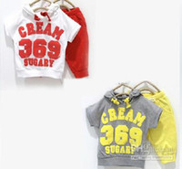 unisex  3-7years  2013 Free shipping baby girls boys summer clothing sets Cream 369 cotton sets sports suits 5sets lot