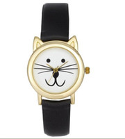 Wholesale Fashion beautiful ASOS Cat Ears Women s leather Watch classic cat s face girl Quartz watch