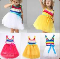 al por mayor raya del arco iris de la muchacha del vestido del tutú-Muchachas del vestido del vestido del arco iris del bebé 2013 del envío libre de la muchacha del arco Wide vestidos del tutú de la raya de 4pcs / lot