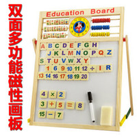 Wholesale Ultralarge baby multifunctional magnetic painting write board blackboard whiteboard child wooden draw board