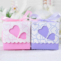 Wholesale decorations party Pink amp Purple Heart Wedding Party Favors Boxes Candy Gift Paper Boxes