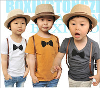 Wholesale Summer children t shirt short sleeve straps Bow tie pure cotton kids Casual t shirts baby topwear